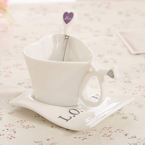 SHUIBEIHHY Love Shape Coffee Cup Colored Enamel Porcelain Mug with Saucers and teaspoons of Holiday Get Married Creative Gift