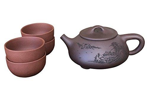 FOREST GRASS Zisha Teapot Set Handmade Tea Infuser Pot with Cup Vintage Kung Fu Tea Forte Pot (B)