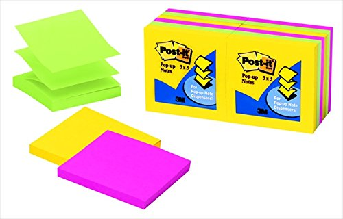 Ultra Color Refill Note (Post-it 076153 Original Pop-Up Note Refill - Assorted Ultra Colors44; Pack - 12)