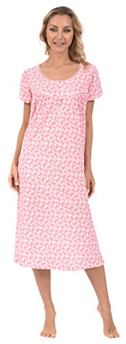 Knit Butterfly Gown - Pink Lady Women's Long Nightgown Nightie Sleep Dress (Pink Butterflies Medium)