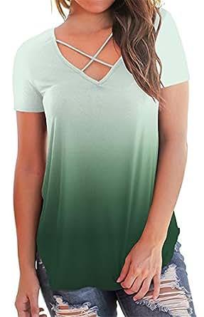 onlypuff Women Criss Cross Tops Short Sleeve Summer Casual T Shirts - Green - Small