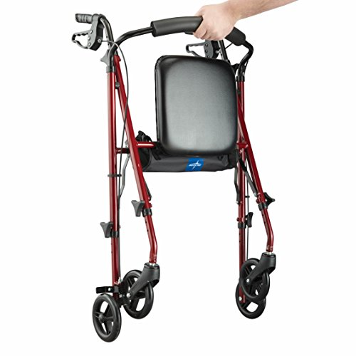 Medline Freedom Mobility Lightweight Folding Aluminum Rollator Walker with 6-inch Wheels, Adjustable Seat and Arms, Burgundy by Medline (Image #4)