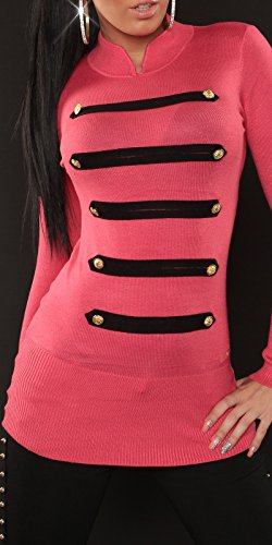 koucla feins Trick de manga larga en Military de Look Jersey en varios. Colores–Long Sudadera Talla 34,36,38(pu1612g) Coral