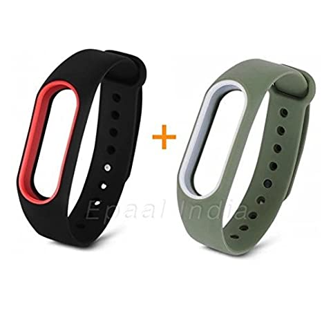 Epaal® Xiaomi Mi Band 2 & Mi HRX Band Dual Color Wearable Wristband  Smartband Strap Silicone Case (Combo: Army Green - White line + Black - red  line)