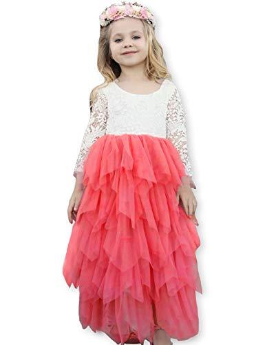 (Girls Lace Dresses V-Back Backless Tutu Tulle Long Sleeve Dress for Kids 1-10Y)