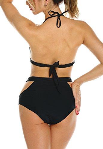 Bikini FITTOO Pezzi String con da Due Bagno up Vita Push Pad Alta Removibile Nero Costume Sexy Donna dUUrwq