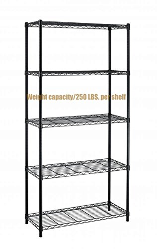 Dance Costumes Australia Sydney (Durable Constructed 5-Tier Steel Shelving Storage Organizer Adjustable Commercial Grade Wire Shelf - Black Finish #1165b)