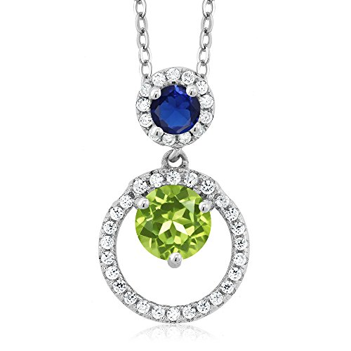1.70 Ct Round Green Peridot Blue Simulated Sapphire 925 Sterling Silver Pendant