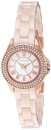 Anne Klein Women's AK/2204RGLP Swarovski Crystal Accented Light Pink Ceramic Bracelet Watch
