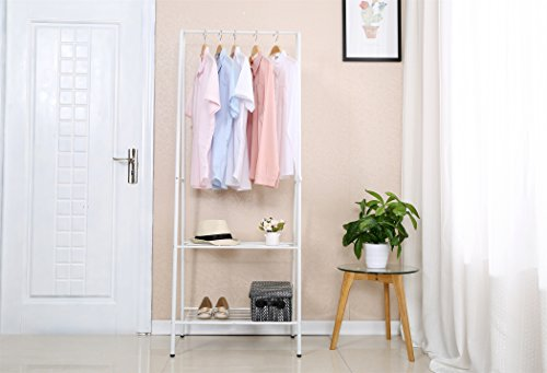 "Homebi Garment Rack Metal Clothing Rack Coat Organizer Laundry Closet Storage Entrway Shelving Unit with Hanger and 2-Tier Durable Shelf for Shoes Clothes Storage in White, 24.0""Wx15.2""Dx63""H"
