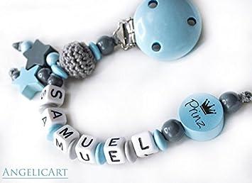 Schnullerkette ohne Namen Häkelperlen Hellblau Hellgrau Junge  Baby Geschenk