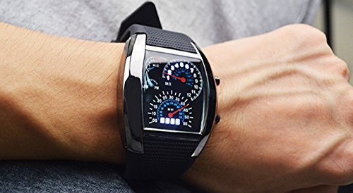 2017 NEW UPGRADED Sports Watch Speedometer Style LED Digital Calendar Wrist Cool Watch Unique Fashion Watch for Man and Women