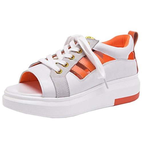color De Toe Uk Y Sandalias 3 Con Huecas Peep Plana Tamaño Plataforma Naranja Naranja Cordones Hhgold wvqzBII