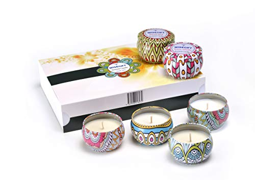 Wisegift Scented Candles Gift Set of 6, 100% Natural Soy Wax Portable Travel Tin, or Use for Weddings Party Birthdays Anniversary, Valentines Day, Aromatherapy, Stress Relief Candles.