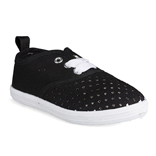 Sugar & Spice [SBK101-BLACK-Y3] Girls Canvas Sneakers: Lace-Up Tennis Shoes, Youth Size - Platform Girls Sneakers Spice