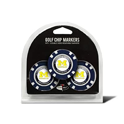 Set of 3 Michigan Wolverines Poker Chips with removable Golf Ball Markers