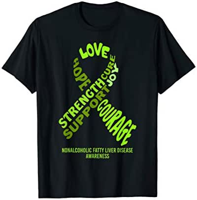 Nonalcoholic Fatty Liver Disease Awareness Ribbon With Words T-Shirt