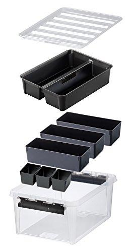 Orthex 3598090 Aufbewahrungssystem, Box 15 mit 7 schwarzen Einsätze Premium Qualität, transparent