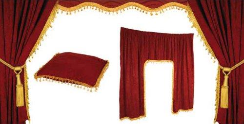 Juego de cortinas/cortinas túnel de Juego para camiones de interior–5piezas–color rojo/oro Warenhandel König