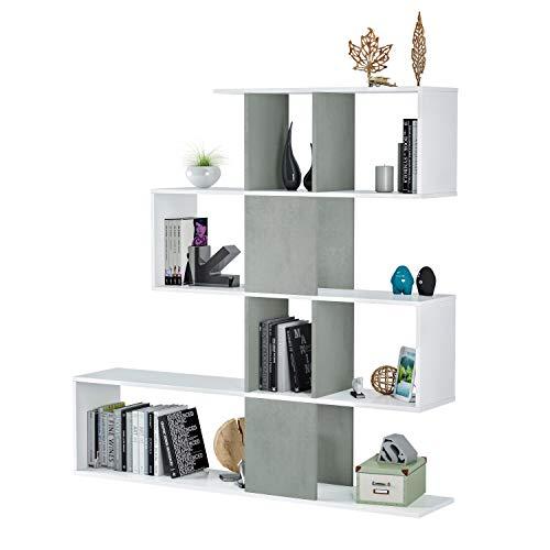 Habitdesign 1L2251A - Estanteria Comedor, libreria Auxiliar Salon con estantes, Modelo Zig Zag, Medidas: 45 x 145 x 29 cm de Fondo (Blanco Artik y Gris Cemento)