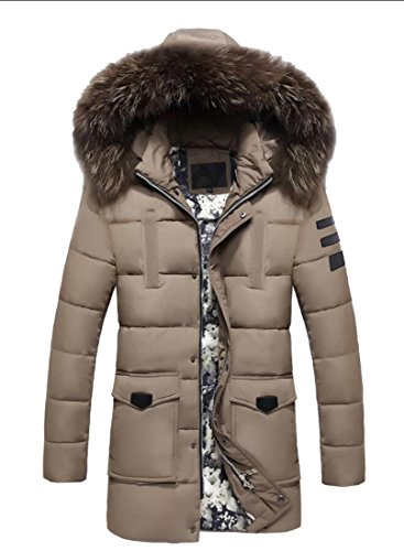 Fur Puffer Quilted Jacket Winter Hooded Outwear 1 Gocgt Detachable Coats Men's Jacket Collar TXxqy85
