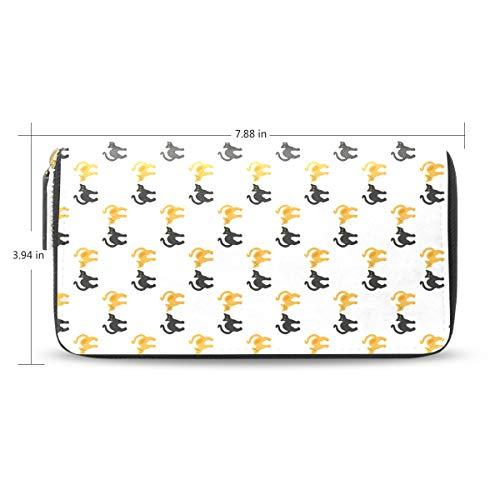 Women Black Yellow Cat Leather Wallet Large Capacity Zipper Travel Wristlet Bags Clutch Cellphone Bag