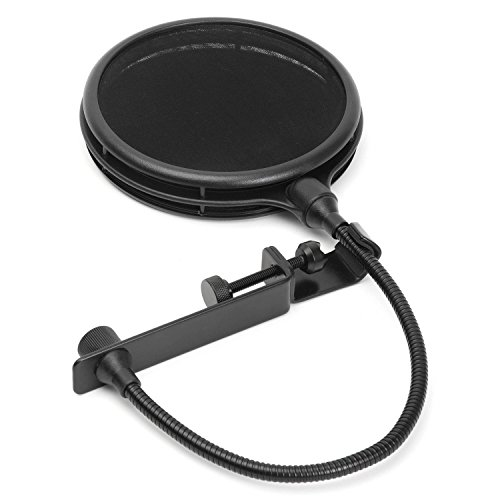 (LyxPro MOP-28 Dual Layer Microphone Pop Filter with Flexible Goozeneck for Superior Vocal Performance, Pop Shield)