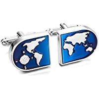 MOWOM Silver Tone Blue 2PCS Rhodium Plated Cufflinks World Map Shirt Wedding Business
