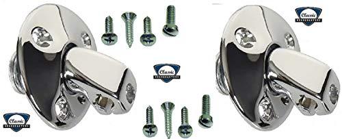 Sun Visor Support Bracket (Pair) w/Mounting & Clamp Screws (Coupe Models Only) Camaro, Firebird, Chevele, ElCamino, Nova & More
