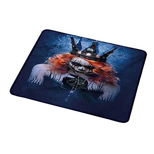 Personalized Mouse Pad Queen,Queen of Death Scary Body Art Halloween Evil Face Bizarre Make Up Zombie,Navy Blue Orange Black,Customized Desktop Laptop Gaming Mouse Pad 9.8