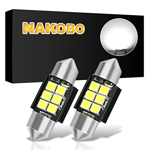 NAKOBO 31mm Festoon Led Bulbs 6000K White Light 6-SMD 3528 Chipsets Canbus Error Free for 3175 DE3175 DE3021 3022 3021 Dome License Plate Door Lights Pack of 2