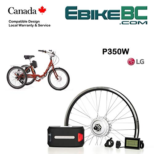 Electric adult trike DIY KIT 350/500W E Bicycle E Bike Complete Conversion Kit Front Hub Motor, Battery Li-Ion 32km/h LCD 24 26 700C rim sizes (Tricycle not included) (20in Wheel)