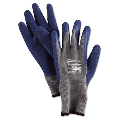 (AnsellPro AHP801009 PowerFlex Gloves Blue/Gray Size 9, 12/Pairs, Blue / Gray)