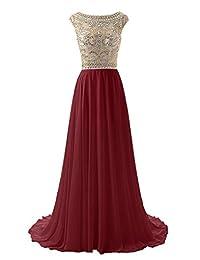 Wedtrend Women's Long Beading Prom Dress Elegant Chiffon Evening Dress
