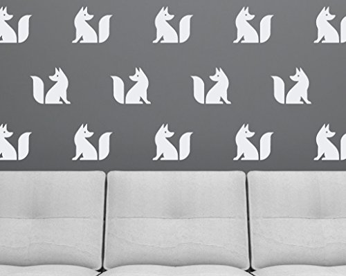 Set of (20) Fox Silhouettes - Vinyl Wall Decals Removable Wall Fox Stickers - Perfect for glass, mirrors, refrigerators, or any smooth surface. (10 right facing, 10 left facing) - White by Wall Decal Gallery