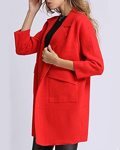 One Red Cardigan Da Size Lavorato Tasche A Ovesuxle Aperto Size Con Colletto Alla Rovescia Maglia color Red Donna THfdZW1
