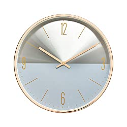 Luxury Modern 12 Two Toned Metal Design Silent Non-Ticking Wall Clock with Rose Gold Frame (Slate Blue)