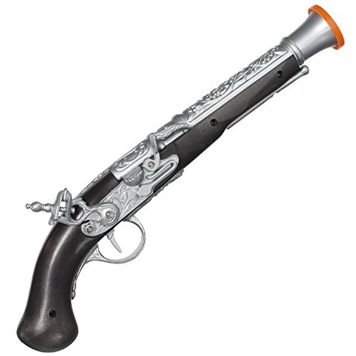 Notorious Pirate Party Antique Gun Accessory, Black and Silver, Plastic , 14