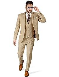 Slim Fit Men Suit Tan Beige 2 Button Notch Lapel Azar 4030-10