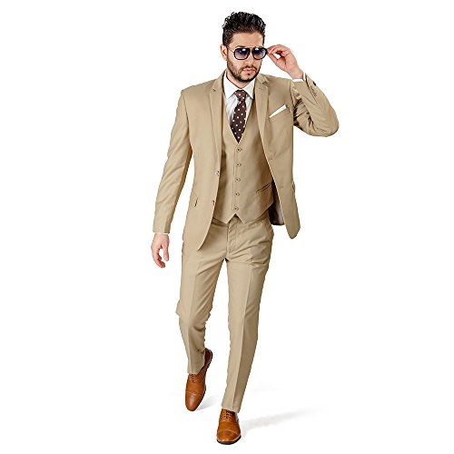Slim Fit Men Suit Tan Beige 2 Button 3 Piece Vested Notch Lapel AZAR 4030-10 (38 Regular 32 Waist 32 Length, Beige Tan with Vest 3 Piece)