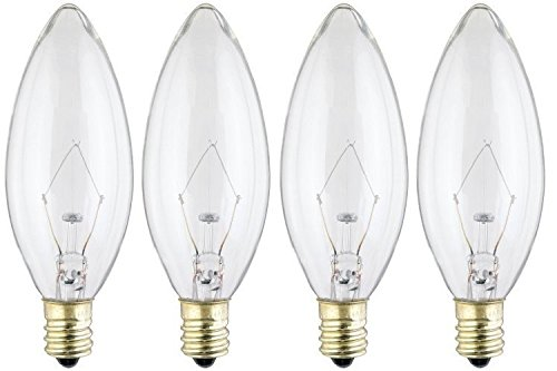 Westinghouse 4023 40-Watt, B 9-1/2 Decorative Ceiling Fan Bulb, Candelabra Base, Clear - 4 Pack ()