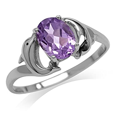 1.12ct. Natural Amethyst 925 Sterling Silver Twin Dolphin Solitaire Ring Size 6 whole
