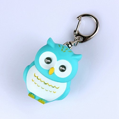 Mini LED Owl Torch Flashlight Key Chain with Sound ( Blue ) (Cartoon Flashlight Keychain)
