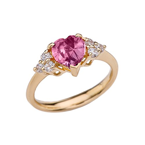 CaliRoseJewelry Yellow Gold 14k Created June Alexandrite Heart Shape Gemstone Ring (Size 7) ()
