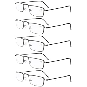 Eyekepper 5-Pack Stainless Steel Frame Half-eye Style Reading Glasses Readers Gunmetal +2.0