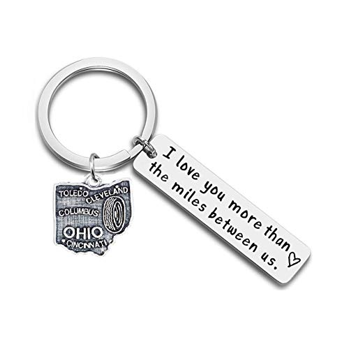 JJTZX I Love You More Than The Miles Between Us Long Distance Relationship State Map Keychain Going Away Gift Travel Gift (Ohio)