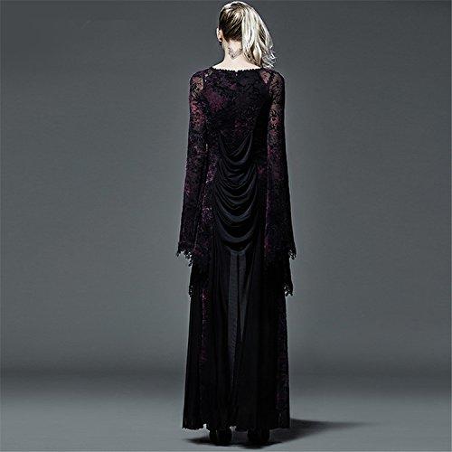 Speaker Lange Punk Dark Kleid Flocking Ärmel Lace Frauen Größen 2 für Gothic Kleid Violet qg0WTaB