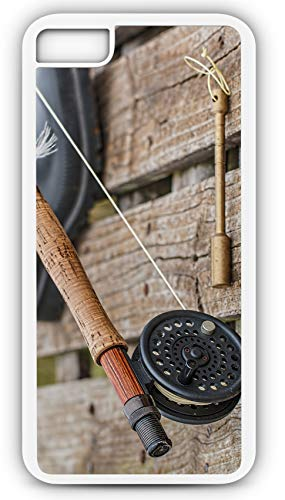 iPhone 8 Plus 8+ Case Fly Fishing Rod Reel Fish Catch Release Brook Rainbow Trout Customizable by TYD Designs in White Plastic Black Rubber Tough Case