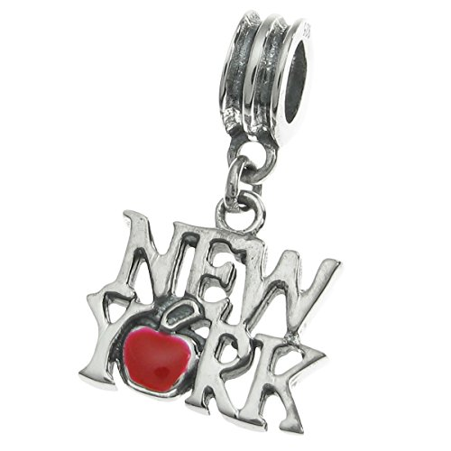 (925 Sterling Silver New York City The Big Apple Enamel European Dangle Charm)