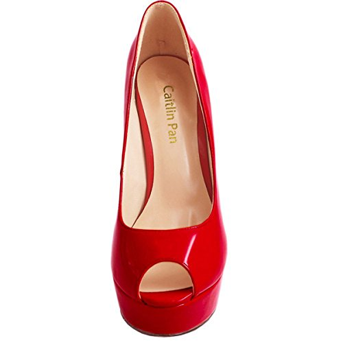 Tacchi On Scarpe Slip Donna Festa Caitlin Pompe Alti R0ss0 Dress Fondo Peep Toe Sandali Pan Red col Piattaforma Stiletti Tacco BwqXWqE46x